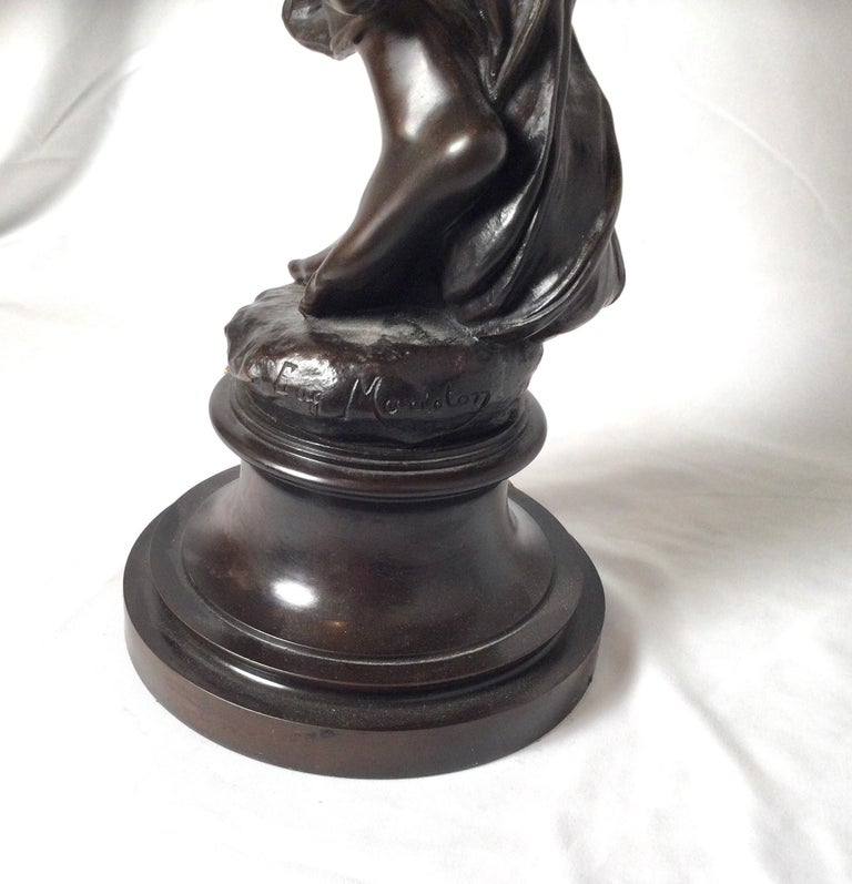 Bronze Stunning 19th Century Art Nouveau Sculpture Woman with Flute by Eugene Marioton For Sale