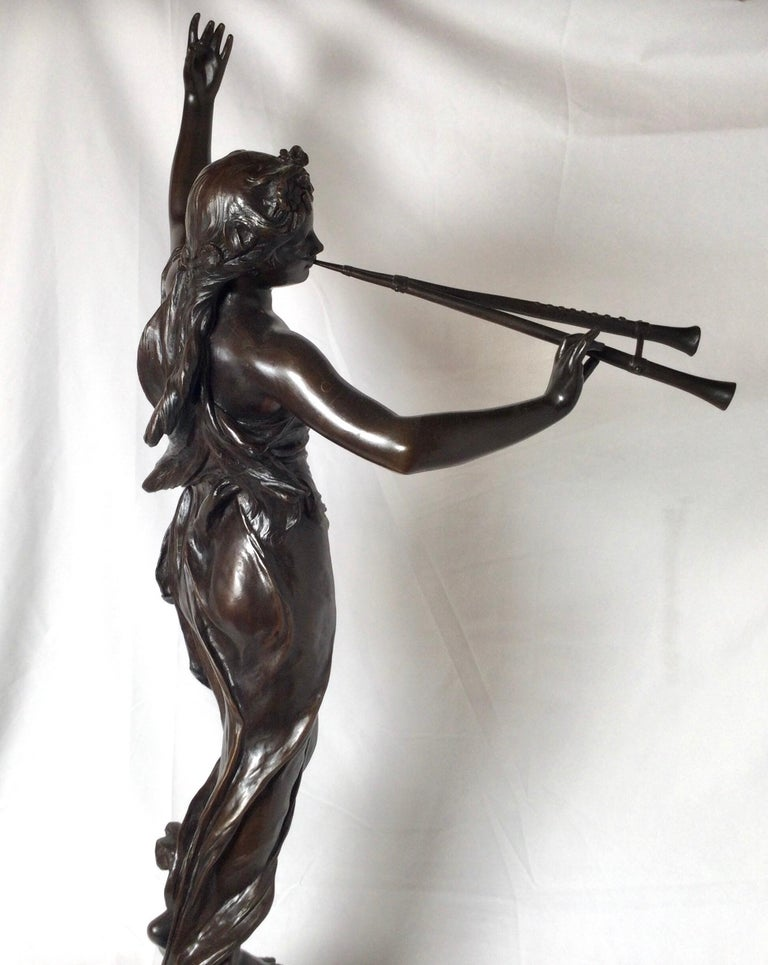 Stunning 19th Century Art Nouveau Sculpture Woman with Flute by Eugene Marioton For Sale 1