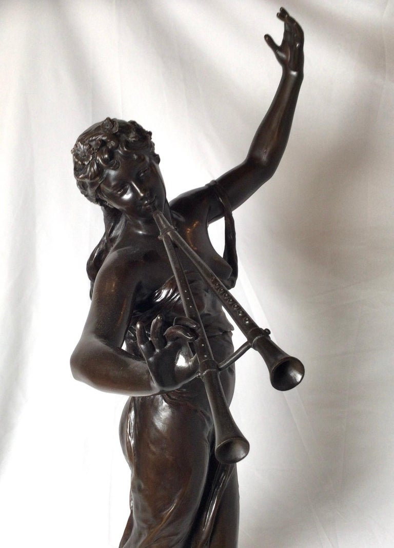 Stunning 19th Century Art Nouveau Sculpture Woman with Flute by Eugene Marioton For Sale 2