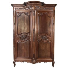 Stunning 19th Century Country French Solid Walnut Armoire