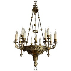 Stunning 19th Century Fine Bronze Gothic Revival 12-Light Chandelier / Pendant