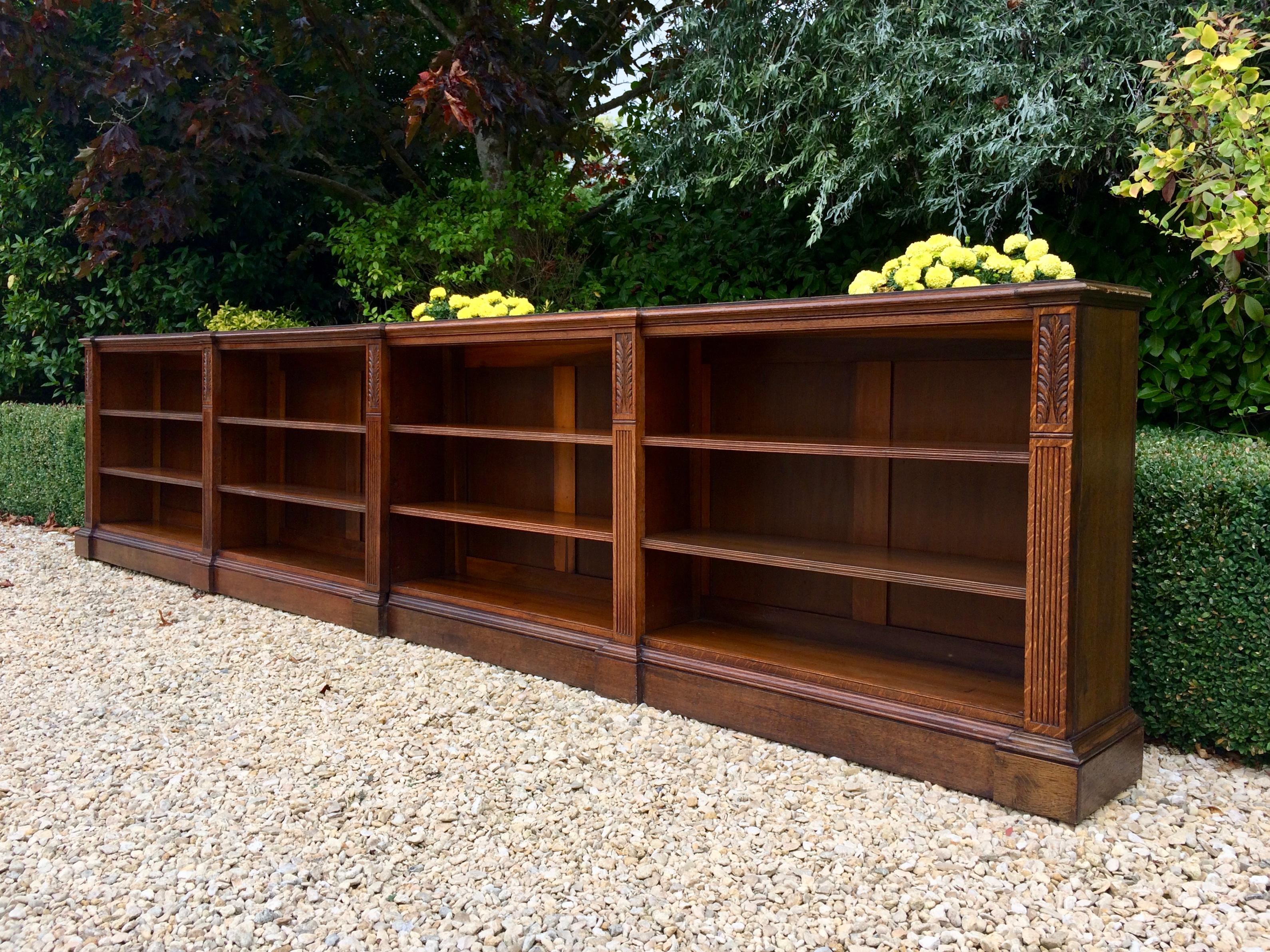 Stunning 19th Century Large Oak Bookcase Two Sections Carved Adjustable  Shelves