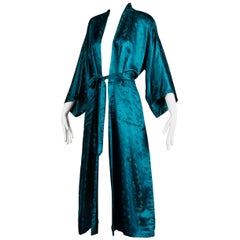 Stunning 20th C. Chinese Blue-Green Silk Satin Robe with Sash