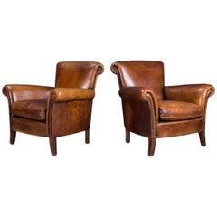 Stunning 20th Century Dutch Pair of Sheepskin Leather Club Armchairs, circa 1980