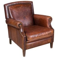 Stunning 20th Century Dutch Sheepskin Leather Armchair, circa 1980