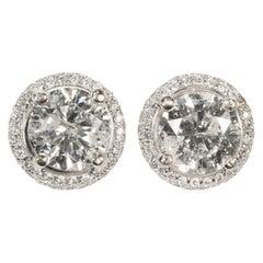 Stunning 2.56 Carat Genuine Diamond Earrings