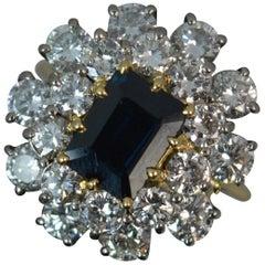 Stunning 2.75 Carat Diamond and Sapphire 18 Carat Gold Cluster Ring