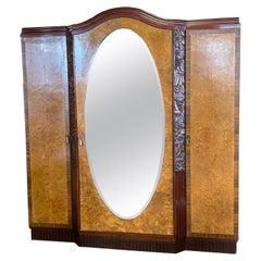 Stunning 3-Door French Art Deco Wardrobe / Armoire, Oval Mirror