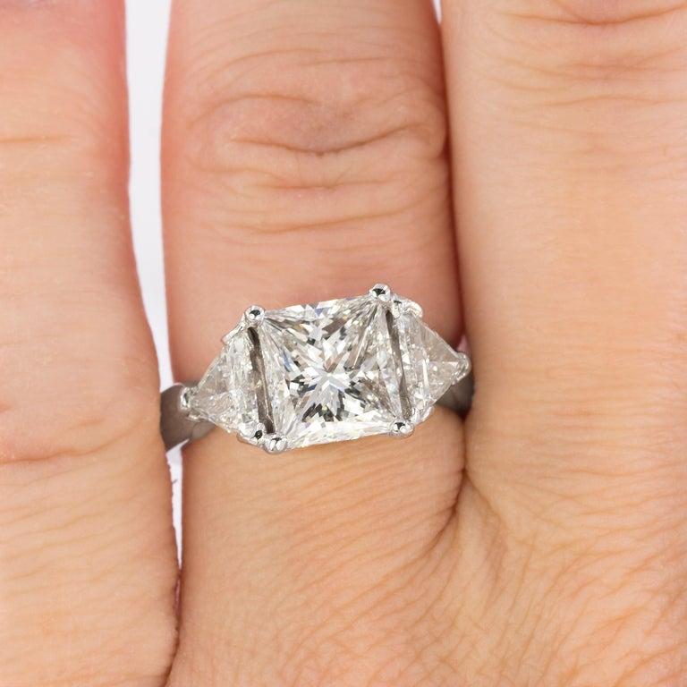 Princess Cut Stunning 3.03 Carat Diamond Ring For Sale