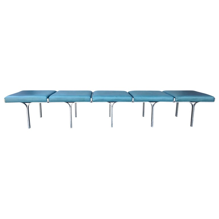 """Stunning 5-Seat Cast Aluminum """"Link"""" Bench by John Behringer, circa 1960s For Sale"""