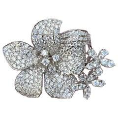 Stunning 6 Carat Pavé Diamond Triple Flower Ring in 18 Karat White Gold