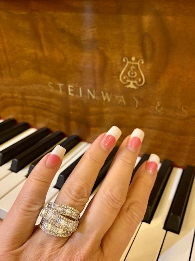 Stunning 6.50 Carat F Color 3-Row Wide Baguette Diamond White Gold Band Ring For Sale 4