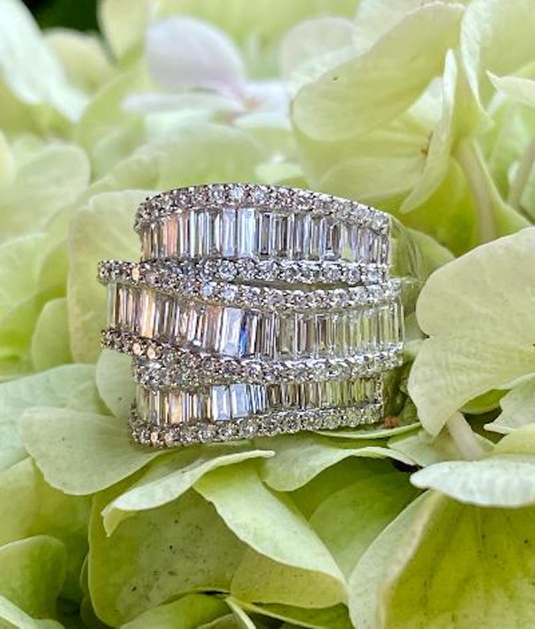Stunning 6.50 Carat F Color 3-Row Wide Baguette Diamond White Gold Band Ring For Sale 5