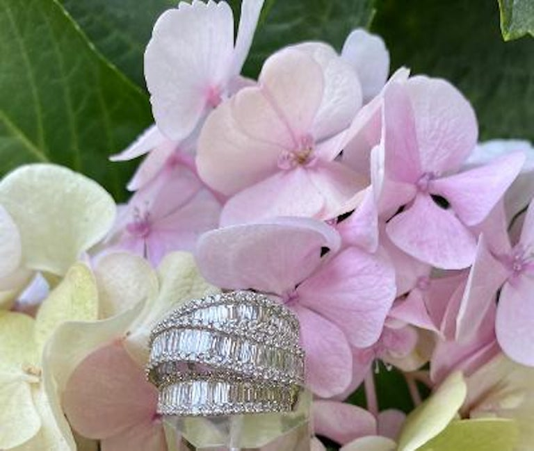 Stunning 6.50 Carat F Color 3-Row Wide Baguette Diamond White Gold Band Ring For Sale 6