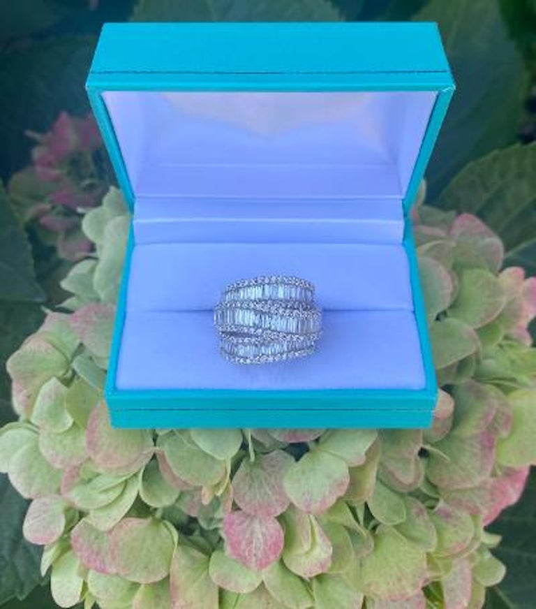 Modern Stunning 6.50 Carat F Color 3-Row Wide Baguette Diamond White Gold Band Ring For Sale