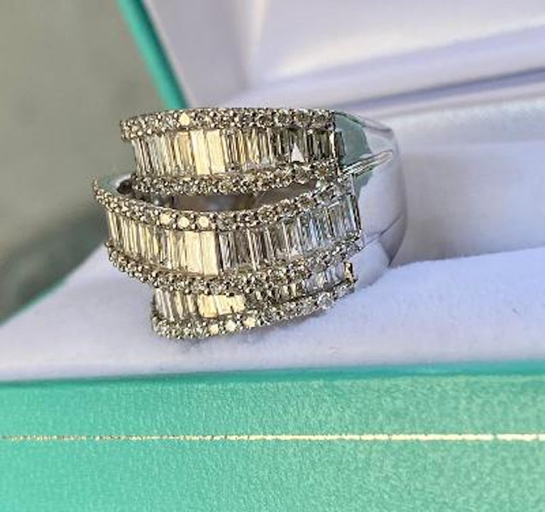 Baguette Cut Stunning 6.50 Carat F Color 3-Row Wide Baguette Diamond White Gold Band Ring For Sale