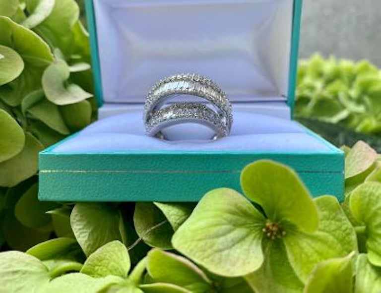 Stunning 6.50 Carat F Color 3-Row Wide Baguette Diamond White Gold Band Ring In Excellent Condition For Sale In Tustin, CA