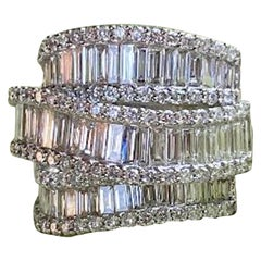 Stunning 6.50 Carat F Color 3-Row Wide Baguette Diamond White Gold Band Ring