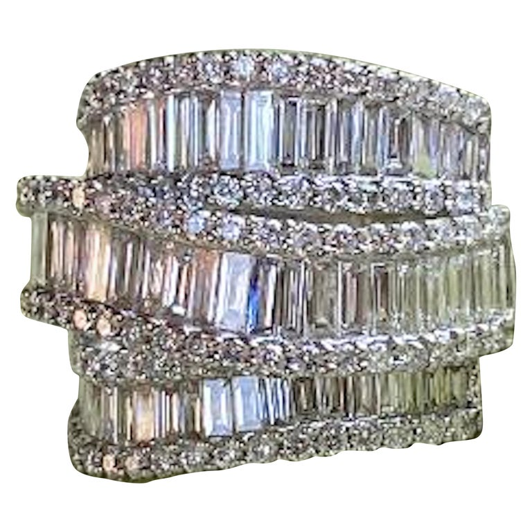 Stunning 6.50 Carat F Color 3-Row Wide Baguette Diamond White Gold Band Ring For Sale