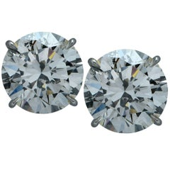 Stunning 8.16 Carat Diamond Stud Solitare Earrings