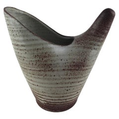 Stunning Accolay French Ceramic Vase or Vessel, Manner of A. Kostanda, 1960s