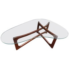 Stunning Adrian Pearsall Sculptural Walnut Kidney Shaped Dogbone Coffee Table