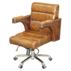 Stunning Aged Saddle Tan Brown Leather Office Desk Captains Directors Armchair