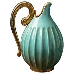 Stunning Alexandra De Wemmel Turquoise and Gold Ceramics Vase