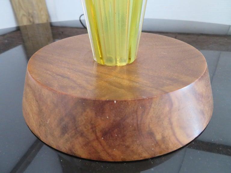 Italian Stunning Alfredo Barbini Yellow Ribbed Murano Glass Table Lamp Gold Flecks For Sale
