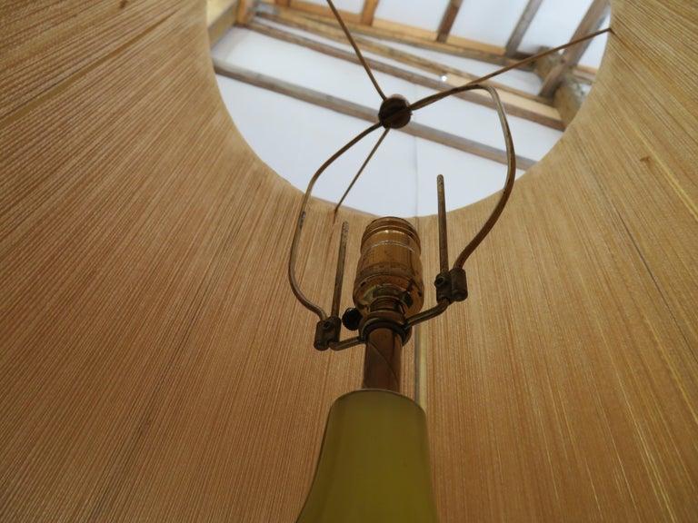 Stunning Alfredo Barbini Yellow Ribbed Murano Glass Table Lamp Gold Flecks For Sale 1