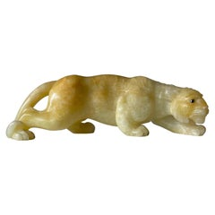 Stunning and Large Italian Hand Carved Alabaster / Mineral Stone Tiger Sculpture