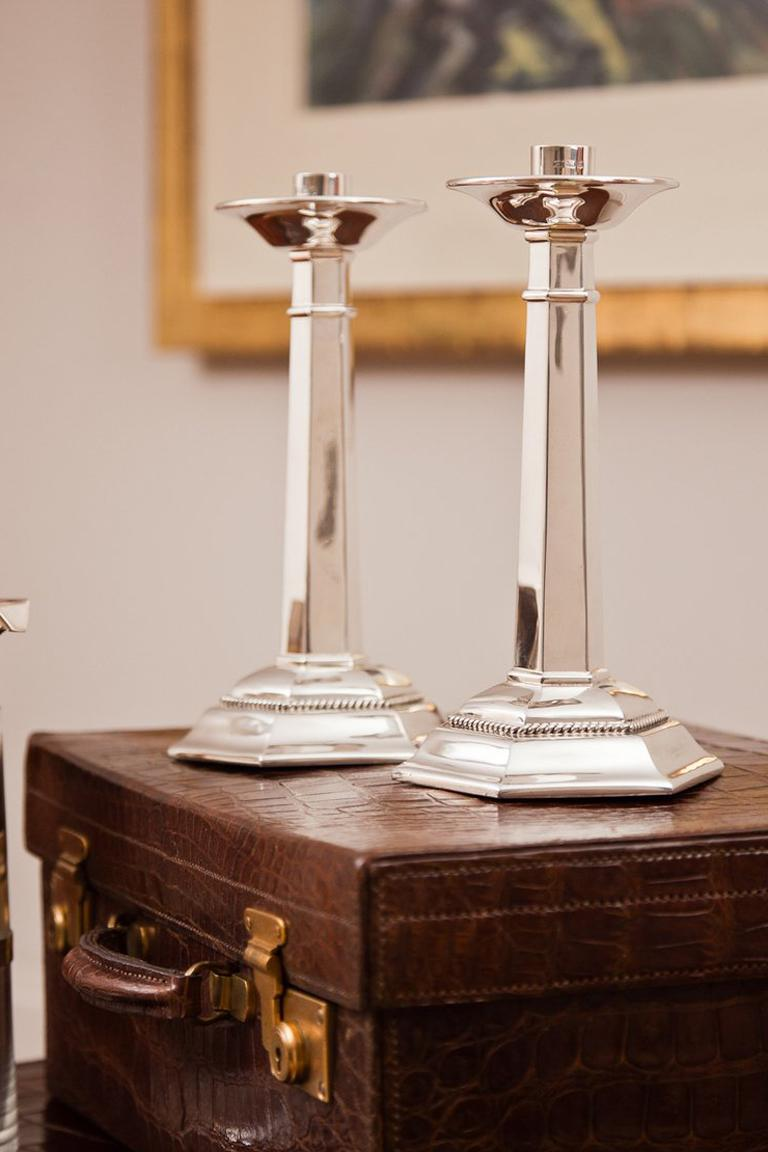 Large Sterling Silver Gothic Design Candlesticks London 1937 For Sale 2