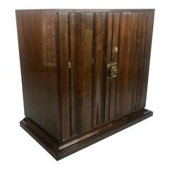 Stunning and Rare Tommi Parzinger Walnut and Brass Dry Bar / Cabinet