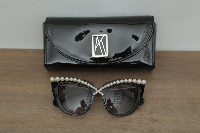 Women's or Men's  Stunning Anna-Karin Karlsson Black Pearl Trimmed Sunglasses 2018 For Sale