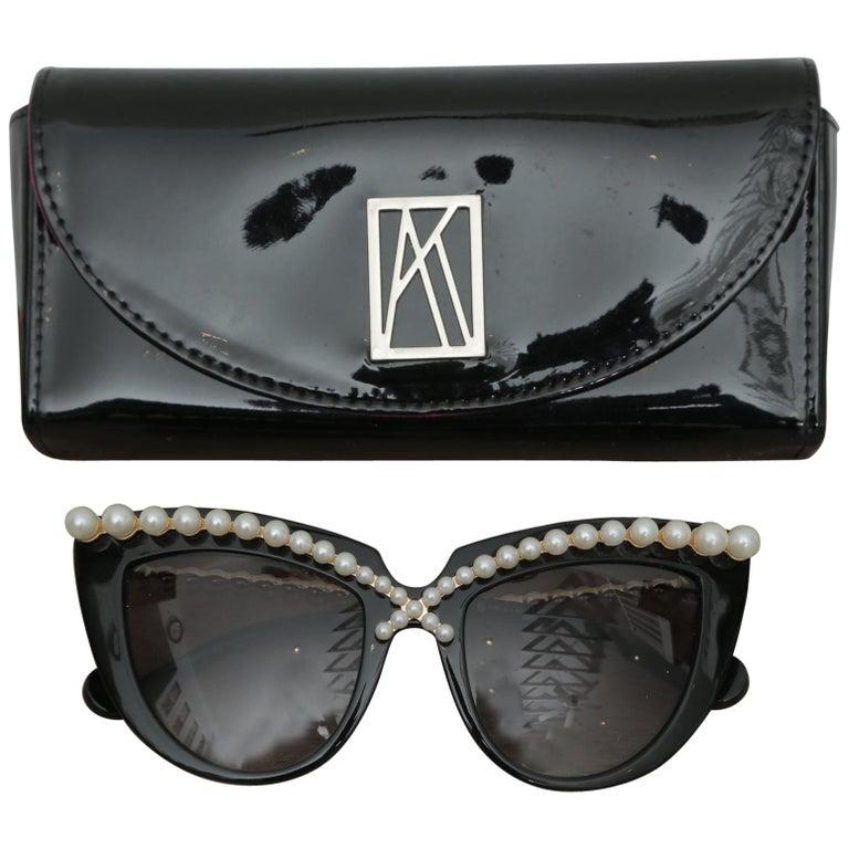 Stunning Anna-Karin Karlsson Black Pearl Trimmed Sunglasses 2018 For Sale