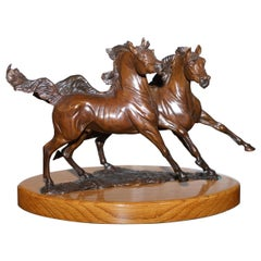 Stunning Annette Yarrow British Bronze Pair of Horses Sculpture on Marble Base