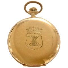 Stunning Antique 14 Karat Gold Full Hunter Pocket Watch Signed BOREL