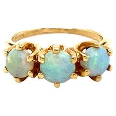 Stunning Antique 14K Yellow Gold Opal Wedding Band Ring