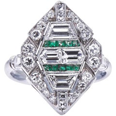 Stunning Antique, Art Deco, 18 Carat Gold, Emerald and Diamond Cluster Ring