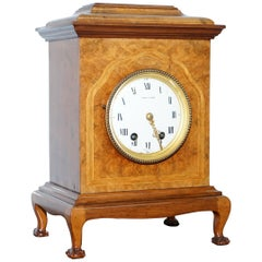 Stunning Antique Burr Walnut Mappin & Webb Mantle Clock with Claw and Ball Feet