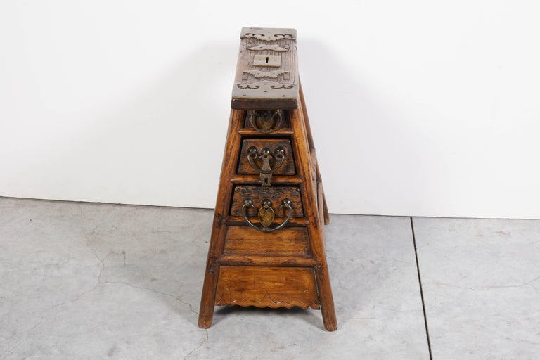 Elm Stunning Antique Chinese Barber Stool with Original Fittings For Sale