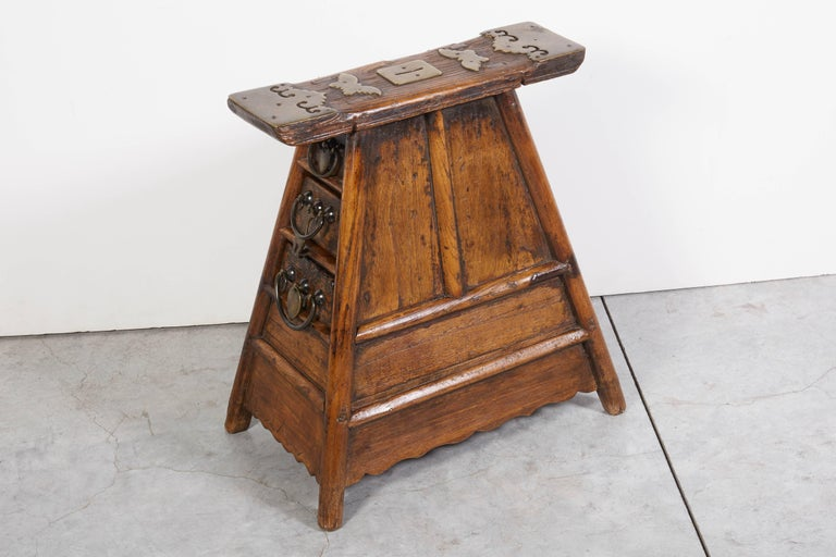 Stunning Antique Chinese Barber Stool with Original Fittings For Sale 1