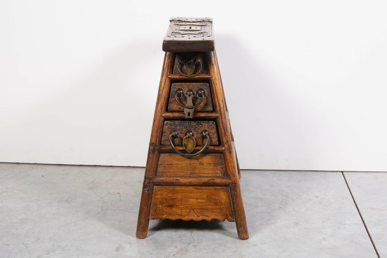 Stunning Antique Chinese Barber Stool with Original Fittings For Sale 3