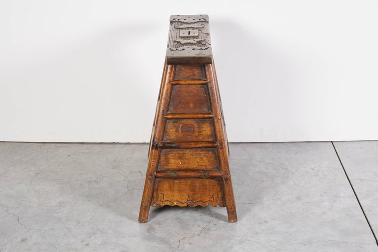 Stunning Antique Chinese Barber Stool with Original Fittings For Sale 4