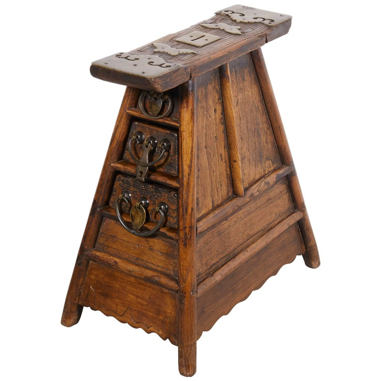 Stunning Antique Chinese Barber Stool with Original Fittings For Sale