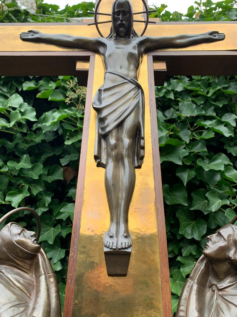 Stunning Church Altar Crucifix with Bronze Sculptures of Christ Mary John For Sale 2
