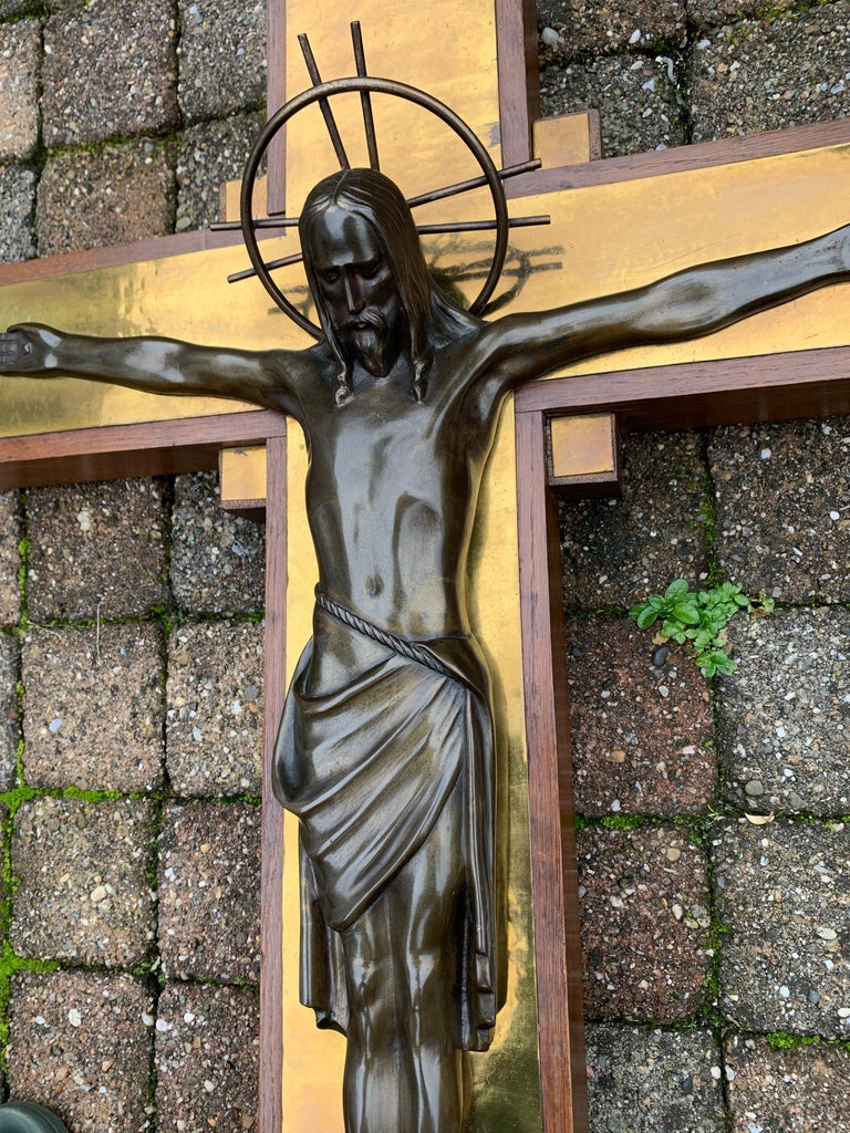 Stunning Church Altar Crucifix with Bronze Sculptures of Christ Mary John For Sale 4