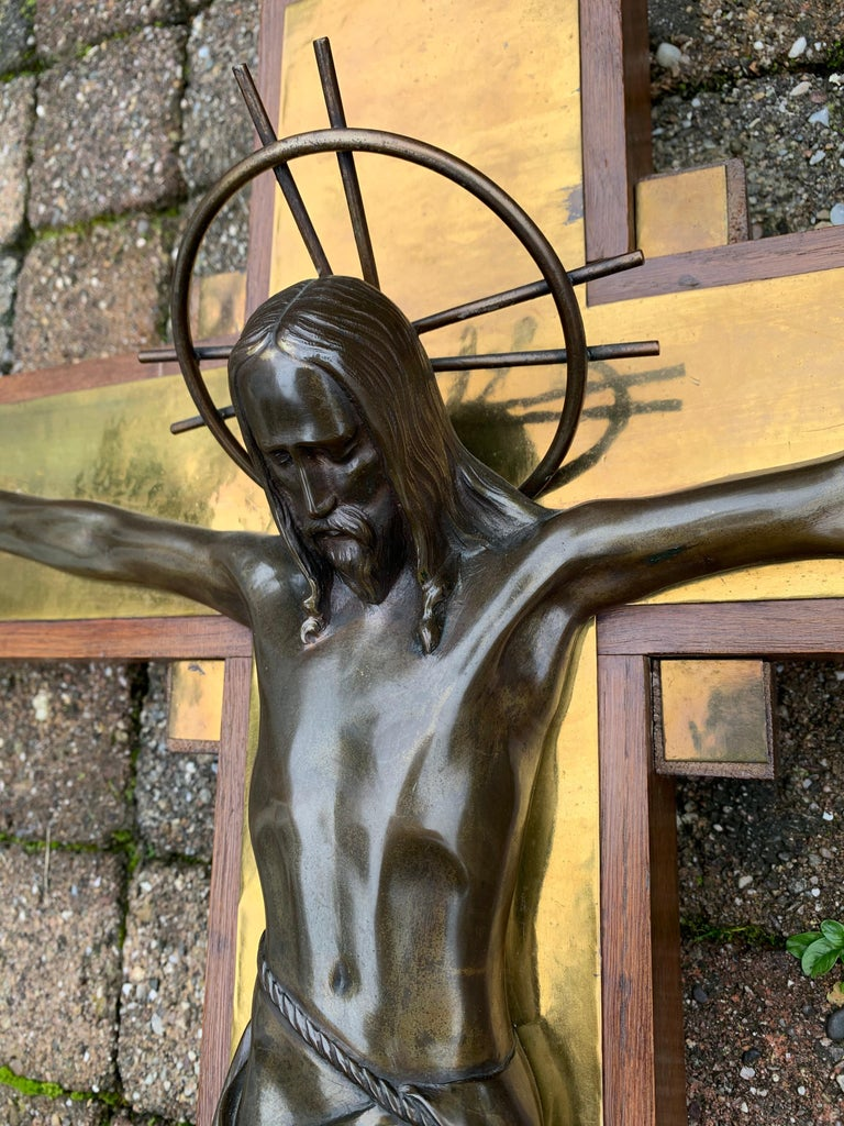 Stunning Church Altar Crucifix with Bronze Sculptures of Christ Mary John For Sale 5