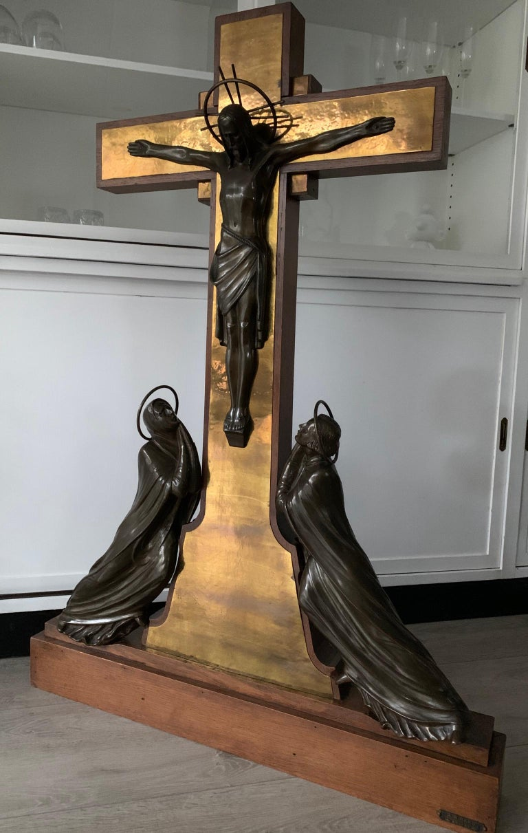 Stunning Church Altar Crucifix with Bronze Sculptures of Christ Mary John For Sale 6