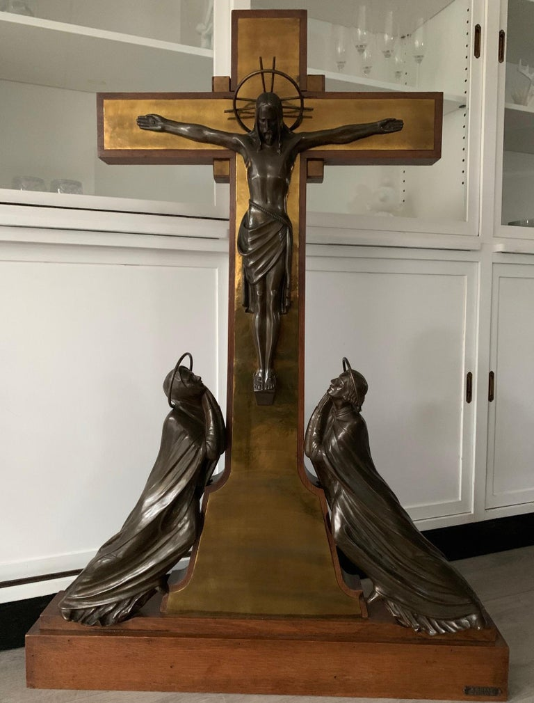 Stunning Church Altar Crucifix with Bronze Sculptures of Christ Mary John For Sale 9